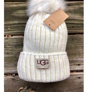 🎁UGG Australia Ivory Knit Pom Winter Beanie Hat